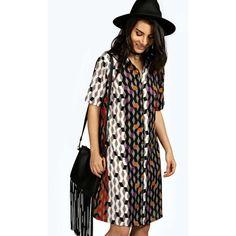 Boohoo Anna Woven Geo Print Shirt Dress ($30) ❤ liked on Polyvore featuring dresses, multi, spaghetti strap maxi dress, floral shirt dress, midi shirt dress, maxi dress y slip dress