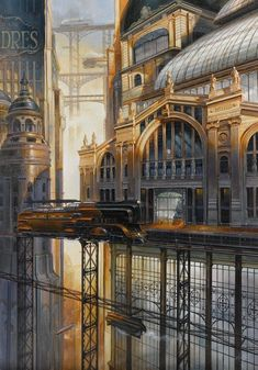 Didier Graffet | ВКонтакте Ville Steampunk, Steampunk City, Steampunk Artwork, Fantasy City, Fantasy Places, Fantasy World, Environment Concept Art, Environment Design, Matte Painting