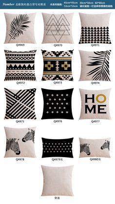 黑白风北欧沙发靠垫抱枕 棉麻装饰咖啡店书店靠枕样板间餐厅抱枕-淘宝网