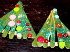 Popsicle stick Christmas trees!