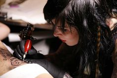 Kat Von D, doin work. I am putting in a request for a few tattoo's from her. I want both of my boys on me and I don't want them to look messed up. She is the best at portraits in my opinion.
