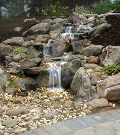 rock waterfalls for landscaping | Rock Waterfalls Fountains / Boulder Water Feature by Living Spaces ...