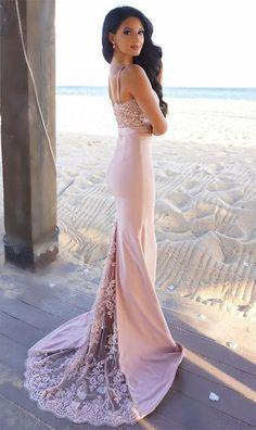 bridesmaid dresses, pink mermaid wedding party dresses, spaghetti lace party dresses, vestidos
