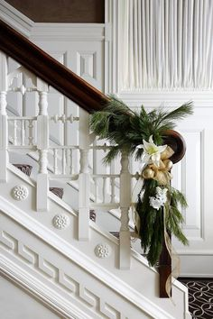 Elegant Chicago Holiday Home - Traditional Home® love the staircase! Magical Christmas, Simple Christmas, Beautiful Christmas, Christmas Holidays, White Christmas, Xmas, Southern Christmas, Christmas Greenery, Minimalist Christmas