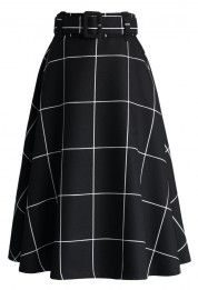 Sway the Plaids Belted Midi Skirt in Black