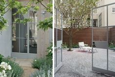 Gray Steel Doors to Garden, Gardenista Above: Not always black, gray factory-style doors complement their adjacent gardens at Patina Farms in Ojai (L), and in a Brooklyn townhouse garden (R) by architect Steven Harris. Steel Doors And Windows, Exterior House Remodel, Hardscape, Crittal Windows, Windows And Doors, Windows Exterior, Patina Farm, French Doors Patio, Doors