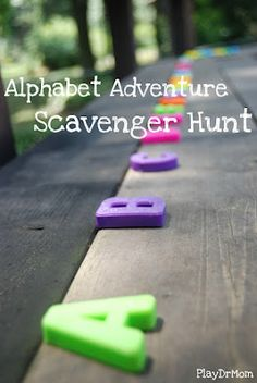 challenge kids to go on an alphabet adventure hunt ... inspired by Audrey & Bruce Wood's book Alphabet Adventure