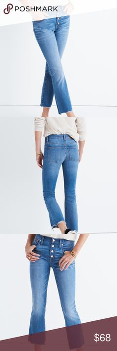 "Madewell Cali Demi-Boot Jeans: Chewed-hem Edition EUC. Worn 2x. Style: kicks out just a bit at the hem for a mini-flare look that works with flats and heels alike. Premium 93% cotton-6% poly-1% elastane denim from renowned ISKO™ mill. Medium indigo wash with artful hand distressing; destroyed ""chewed"" hems are finished by hand for a vintage vibe. Antique silver hardware, contrast stitching, button-through fly. Extra-high 9 1/2"" rise. Sit above hip, fitted through hip and thigh, with a…"