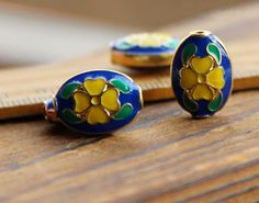 Top Qiality yellow flower wiry enamel craft gilding jewelry beads, gilding beads, oval beads, good for DIY jewelry,16mm by ForDIYsupplies on Etsy