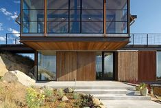 Sunshine Canyon House by Renée Del Gaudio Architecture - Steel overhang, steel through girders, shutters