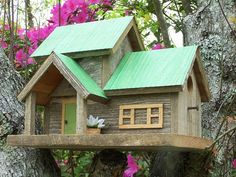 Birdhouses make excellent gifts as they are truly a gift that keeps on giving. Offered for your consideration is this AWESOME two family home constructed from weathered cedar with a recycled corrugated tin roof guaranteed not to leak. It will stand up to Ma Nature as it is constructed with galvanized nails and screws and all pieces are glued with quality exterior glue. That is except for the roof which is easily removable for cleanout.  The dimensions are 15 wide, 12 tall and 11 deep. The…