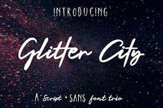 Glitter City Font Trio + Logos by theinkaffair on @creativemarket