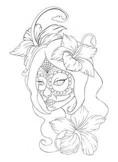 Sugar Skull Girl Tattoo Creative Commons Attribution-Noncommercial-No Derivative Works . Skull Candy Tattoo, Candy Skulls, Skull Tattoos, Sugar Skull Girl Tattoo, Skull Coloring Pages, Adult Coloring Book Pages, Coloring Pages To Print, Coloring Books, Sugar Skull Mädchen