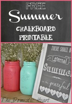 Free Summer chalkboard printable from The Domestic Heart