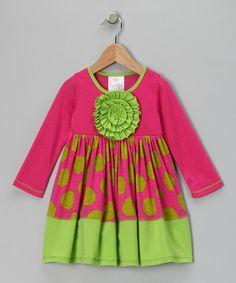 Pink & Lime Zinnia Polka Dot Dress - Toddler & Girls    $29.99