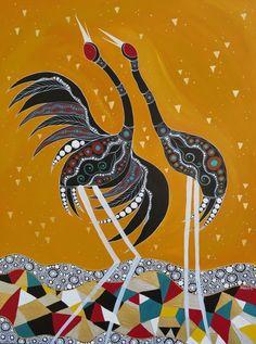 Melanie Hava  Brolga Greetings Aboriginal Art Symbols, Aboriginal Dot Painting, Aboriginal Artists, Native Drawings, Art Drawings, Australian Aboriginals, Arte Tribal, Hawaiian Art, Bird Artwork