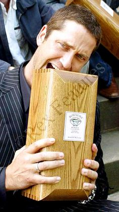 Gerry being silly with his award.  Photo courtesy of Gerard Butler GALS.