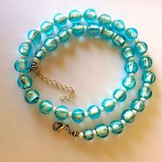 Halskette aus hellblauen Silberfolieperlen von Kreativ-Werkstatt-Heidi-H. auf DaWanda.com