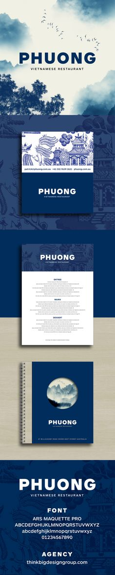 The restaurant branding and menu design for Phuong Vietnamese restaurant in Sydney Australia. Agency thinkbigdesigngroup.com Designer Hieu Nguyen