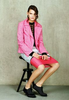 Pink silk and-polyester-mix hound's-tooth jacquard biker jacket, £695, by Richard Nicoll, from net-a-porter.com.  Black viscose and nylon-mi...