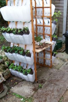 Garden Hanging Containers from Plastic Milk Jugs Frugal Project - Frugal - Homesteading - Milk Jugs, Milk Cartons, Milk Carton Crafts, Bottle Garden, Balcony Garden, Garden Planters, Garden Structures, Outdoor Plants, Diy Herb Garden
