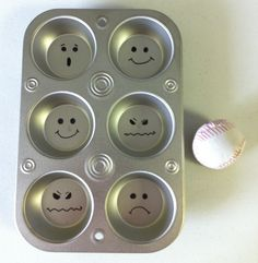 Muffin Tin Feelings Toss. Draw feelings faces with a Sharpie, and use a hacky sack ball to toss. Wherever it lands that feeling is identified. Could also toss pennies.