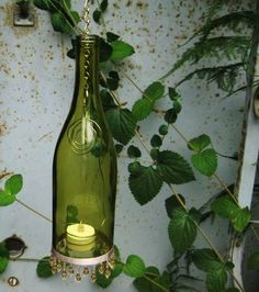 Wine Bottle Lanterns/Candle Holders - GLASS CRAFTS