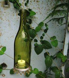 Wine Bottle Lanterns/Candle Holders - GLASS CRAFTS