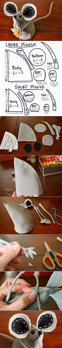 DIY Fabric Mouse would make a darlin' little pincushion. Felt Diy, Felt Crafts, Fabric Crafts, Felt Patterns, Stuffed Toys Patterns, Sewing Toys, Sewing Crafts, Felt Christmas, Christmas Crafts