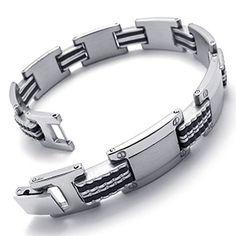 KONOV Jewelry Mens Stainless Steel Rubber Bracelet, Polished Links Wrist, Silver Black KONOV Jewelry http://www.amazon.com/dp/B00KWR493A/ref=cm_sw_r_pi_dp_0c7cub09EB69Z