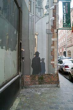 Graffiti And Street Art In Brussels: rue du Marche au Charbon Best Street Art, 3d Street Art, Amazing Street Art, Street Art Graffiti, Street Artists, Graffiti Artwork, Art Mural, Wall Murals, Best Graffiti