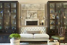 Jeffrey Alan Marks. Antique Mirror. Gorgeous display cases. Balanced. -via Interior Canvas