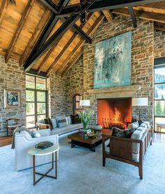 Mountain Living House Of The Year. Mountain Living House Of The Year.' JLF & Associates, Inc. Modern Rustic Homes, Rustic Home Interiors, Rustic Contemporary, Mountain Home Interiors, Midcentury Modern, Stone Interior, Interior Design, Mountain Living, Jackson Hole
