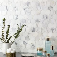 Whether you're in search of white subway tile for your backsplash, or white marble tile for your floor, browse our entire collection of white tiles here. Hexagon Backsplash, Hexagon Tiles, Kitchen Tiles, Kitchen Flooring, Marble Kitchen Countertops, Contemporary Kitchen Backsplash, Kitchen Decor, Gray Kitchen Backsplash, Kitchen Faucets