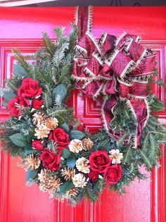Terri Smart Duhon's southern roses Christmas wreath #pinspirationparty    Follow this board tonight from 5-8pm ET as we live pin holiday craft projects made by @Brett Bara @Michelle Edgemont @Natalie Soud—A Dose of the Delightful @Laura Fenton and @Jodi Kahn at our first-ever Holiday Pinspiration Party!
