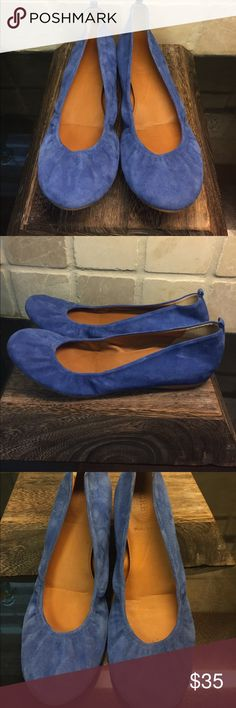 J. Crew CeCe Suede Flat Beautiful Italian leather with hidden wedge. I have these in multiple colors but don't seem to have enough in my closet to match this bright cobalt blue. J. Crew Shoes Flats & Loafers