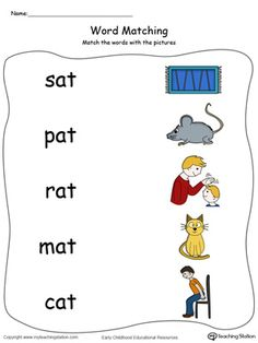 **FREE** AT Word Family Picture Match in Color Worksheet.Topics: Word Families, Reading, and Phonics. English Worksheets For Kindergarten, Kindergarten Reading Activities, Phonics Worksheets, Preschool Learning Activities, Reading Worksheets, Preschool Phonics, Preschool Writing, English Stories For Kids, English Phonics