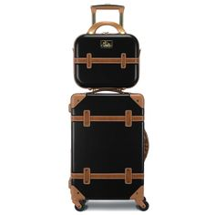 Vintage inspired, Gatsby brings an air of sophistication to any type of traveler; a flawless combination of fashion meets function. This spinner is constructed with the consumer in mind, with an integrated 3-digit TSA-approved lock for security, four 360 degree spinner wheels for easy maneuverability, and a telescopic retractable pull handle. The included beauty case comes with a vanity mirror, adjustable detachable shoulder strap, and spandex strap located on the back to attach to the main bag. Small Luggage, Carry On Luggage, Luggage Sets, Travel Luggage, Travel Bags, Hardside Luggage, Beauty Case, Thick Leather, One Bag