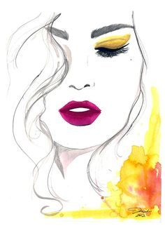 Items similar to Watercolor and Pen Fashion Illustration, Jessica Durrant - The Fuchsia Lip print version on Etsy Art And Illustration, Watercolor Illustration, Drawing Faces, Art Drawings, Art Visage, Art Design, Face Art, Painting Inspiration, Painting & Drawing