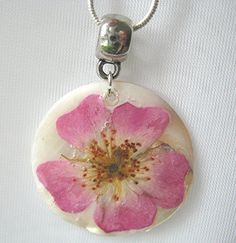 Pink Rose Real Flower Necklace Wedding Bridesmaid by mingogardens