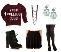 cozy causual ankle boots, knitten tights, contrasting earings, simple sparkly necklace