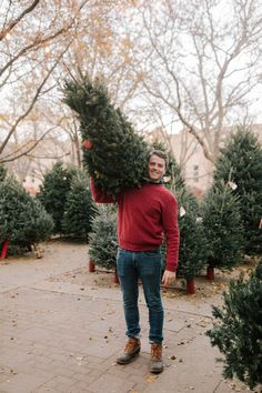 Today's post is about one of my favorite things about the holidays: Finding our Christmas tree! Plus, why you should always opt for real over fake trees. Preppy Christmas, Christmas Tree Farm, Mens Christmas Outfits, Cozy Christmas, Christmas Fashion, Holiday Outfits, Holiday Photos, Christmas Photos, Christmas Photography