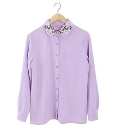 Embellished Shirt in Purple