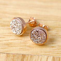 Rose gold druzy,Rose gold earrings,Stud Earrings,Geode Earrings,Druzy Earrings,Drusy Earrings,Gemstone,Silver stud,Agate Earrings,Stone earrings,