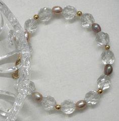 Bracciale donna cristalli clear e perle acqua dolce by Momentidoro, €33.00