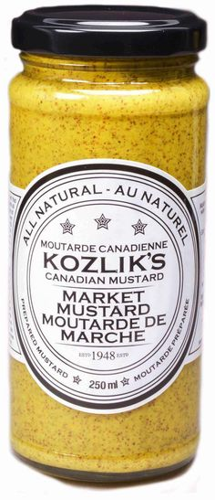 Kozliks Canadian Mustard was established in 1948 and has remained family owned and operated to this day, producing hand-made mustard in small batches. Side Dishes, Eat, Cooking, Recipes, Montreal, Backsplash, Food, Online Shopping, Kicks