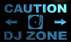 Caution DJ Zone Neon Light Sign Led Neon Signs, Neon Light Signs, Neon Lighting, Dj, Studio, Studios
