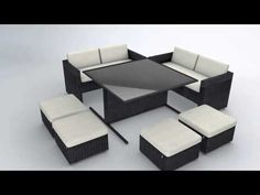 Reef Rattan Camina 7 Pc Cube Love Seat Dining Set MIXED CHOCOLATE 16670951   Extra colored seat cushions are $99.  RED.