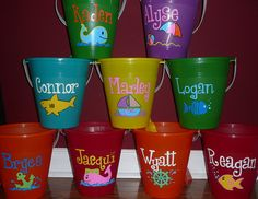 Hand painted personalized Beach Buckets by LABabyDesigns, $10.00. Such a great party favor..or just because!