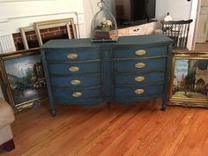 Vintage dresser painted in Annie Sloan chalk paint color of Aubusson blue with clear and dark wax and then lightly highlighted with gold rub n buff